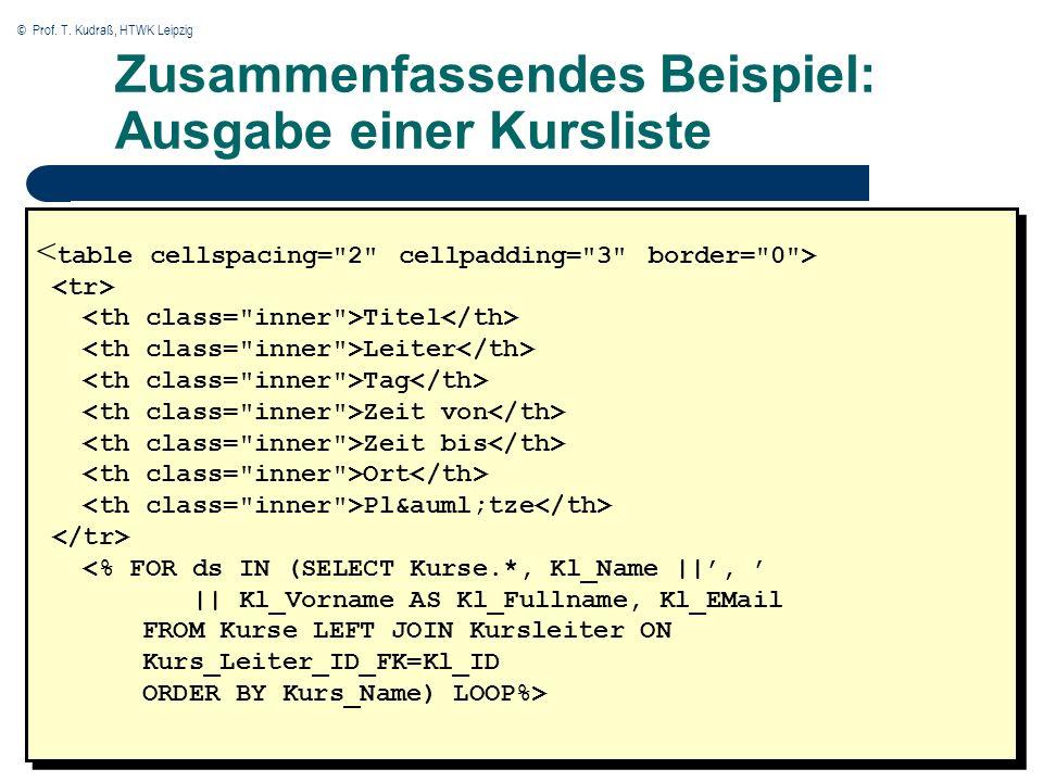 © Prof. T. Kudraß, HTWK Leipzig Zusammenfassendes Beispiel: Ausgabe einer Kursliste Titel Leiter Tag Zeit von Zeit bis Ort Pl&auml;tze <% FOR ds IN (S