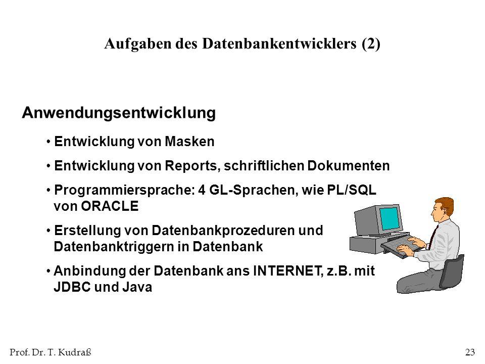 Prof. Dr. T. Kudraß23 Anwendungsentwicklung Entwicklung von Masken Entwicklung von Reports, schriftlichen Dokumenten Programmiersprache: 4 GL-Sprachen