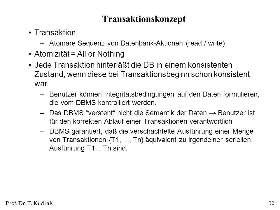 Prof. Dr. T. Kudraß32 Transaktionskonzept Transaktion –Atomare Sequenz von Datenbank-Aktionen (read / write) Atomizität = All or Nothing Jede Transakt