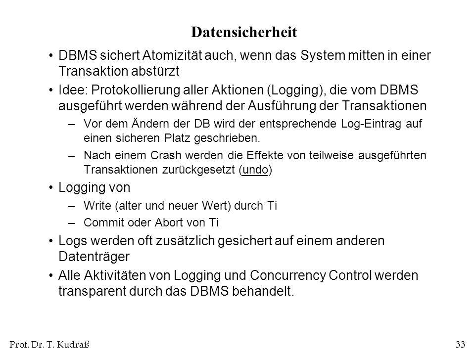 Prof. Dr. T. Kudraß33 Datensicherheit DBMS sichert Atomizität auch, wenn das System mitten in einer Transaktion abstürzt Idee: Protokollierung aller A