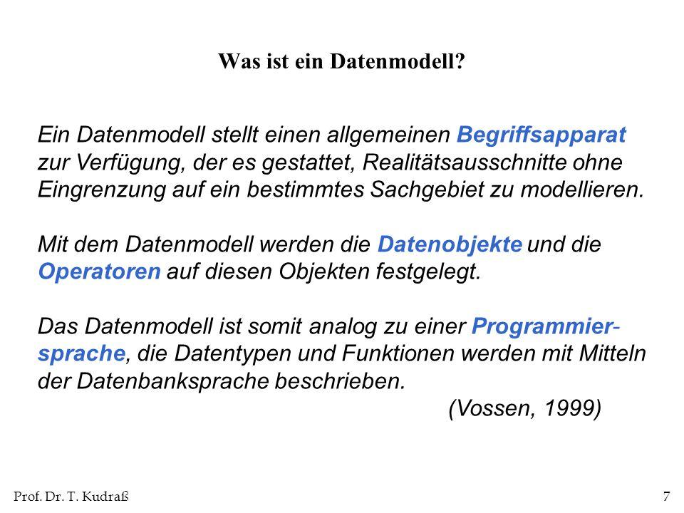 Prof.Dr. T. Kudraß18 Welche Vorteile hat die Datenunabhängigkeit.