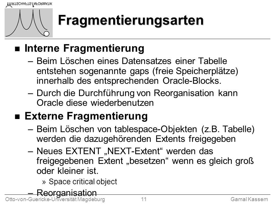 Otto-von-Guericke-Universität Magdeburg 11Gamal Kassem Fragmentierungsarten n Interne Fragmentierung –Beim Löschen eines Datensatzes einer Tabelle ent