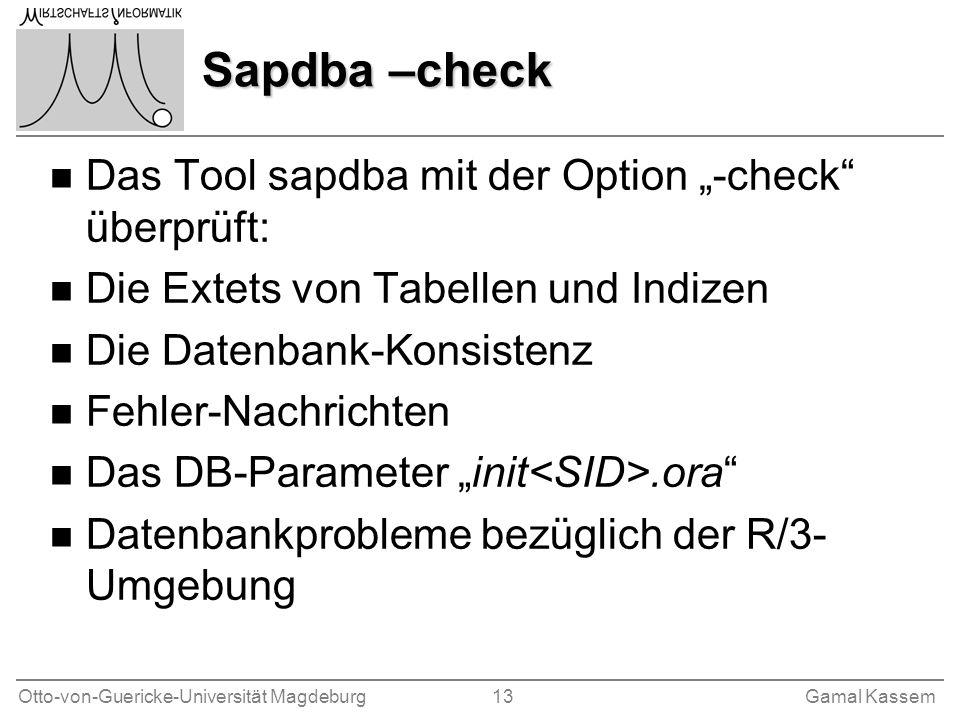 Otto-von-Guericke-Universität Magdeburg 13Gamal Kassem Sapdba –check n Das Tool sapdba mit der Option -check überprüft: n Die Extets von Tabellen und