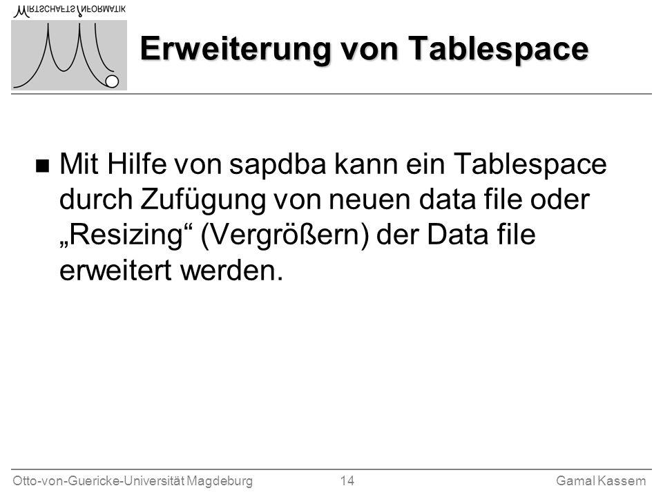 Otto-von-Guericke-Universität Magdeburg 14Gamal Kassem Erweiterung von Tablespace n Mit Hilfe von sapdba kann ein Tablespace durch Zufügung von neuen