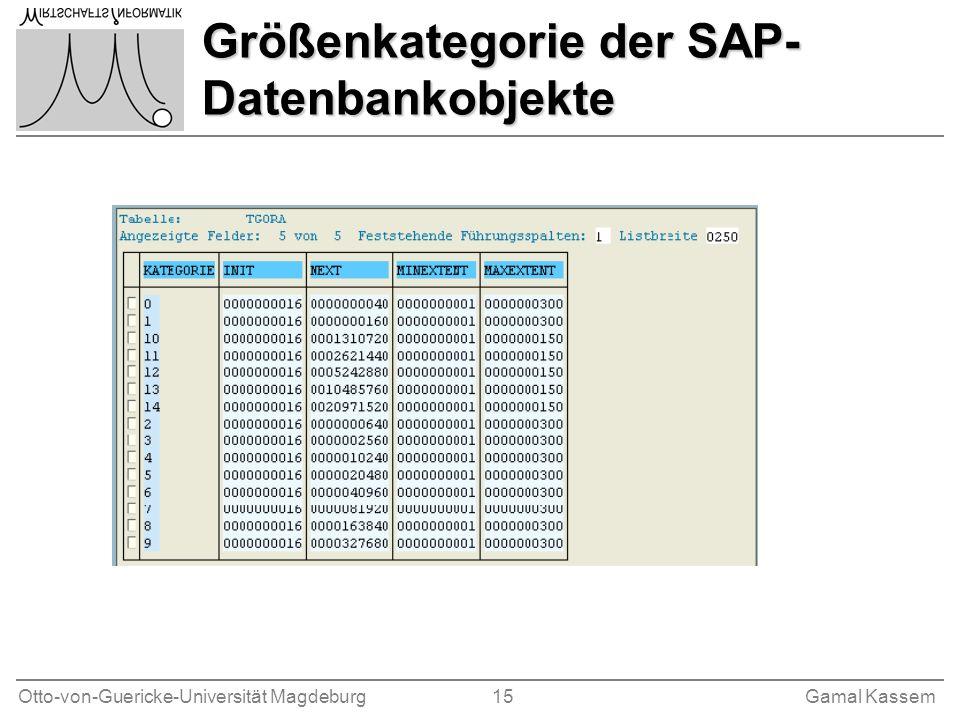 Otto-von-Guericke-Universität Magdeburg 15Gamal Kassem Größenkategorie der SAP- Datenbankobjekte