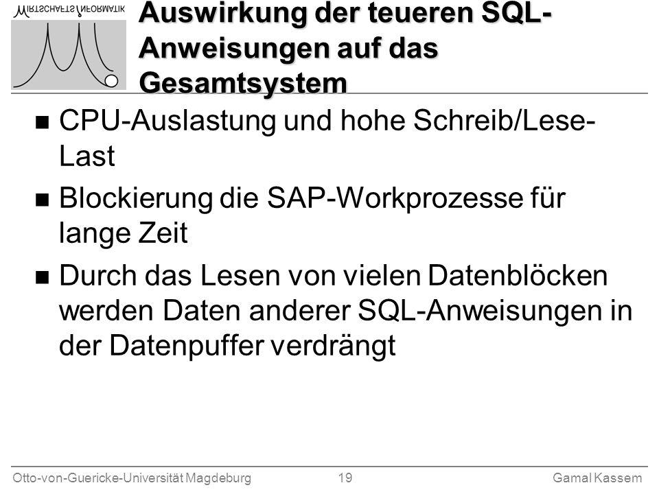 Otto-von-Guericke-Universität Magdeburg 19Gamal Kassem Auswirkung der teueren SQL- Anweisungen auf das Gesamtsystem n CPU-Auslastung und hohe Schreib/