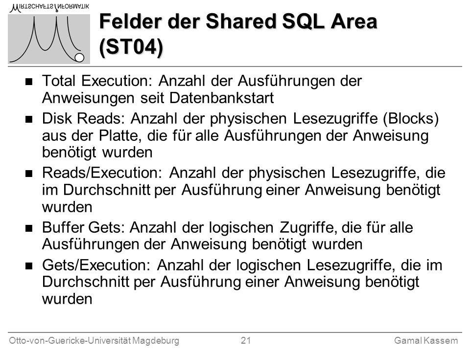 Otto-von-Guericke-Universität Magdeburg 21Gamal Kassem Felder der Shared SQL Area (ST04) n Total Execution: Anzahl der Ausführungen der Anweisungen se