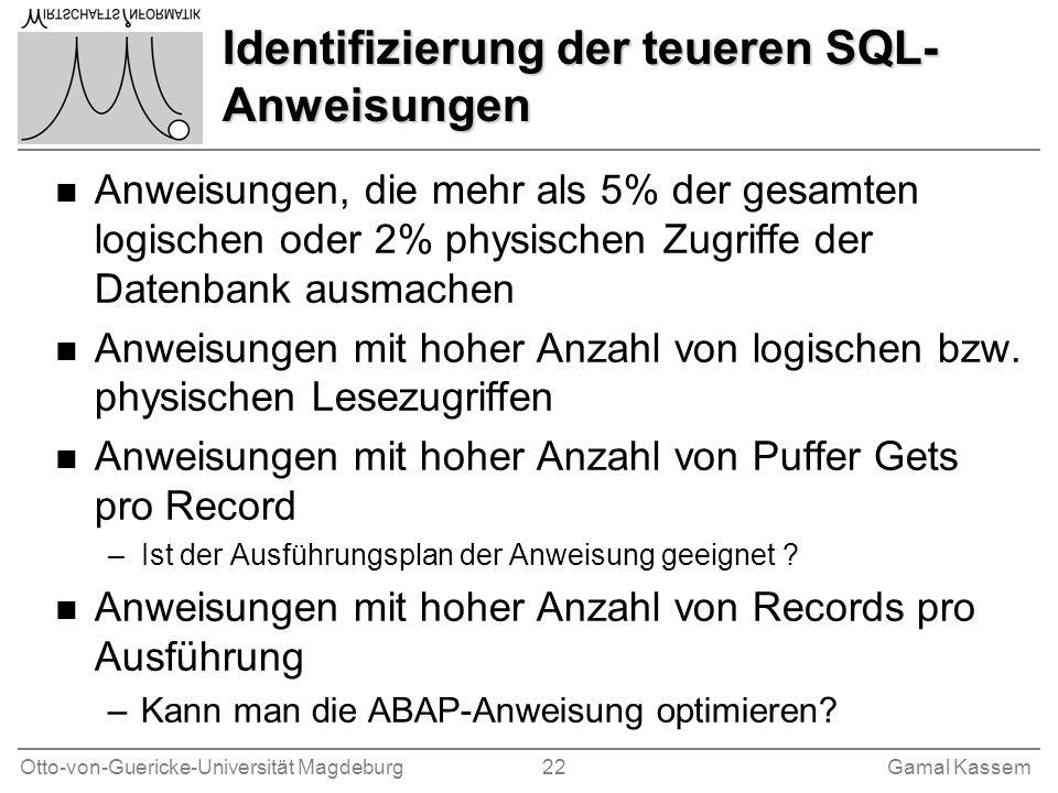 Otto-von-Guericke-Universität Magdeburg 22Gamal Kassem Identifizierung der teueren SQL- Anweisungen n Anweisungen, die mehr als 5% der gesamten logisc