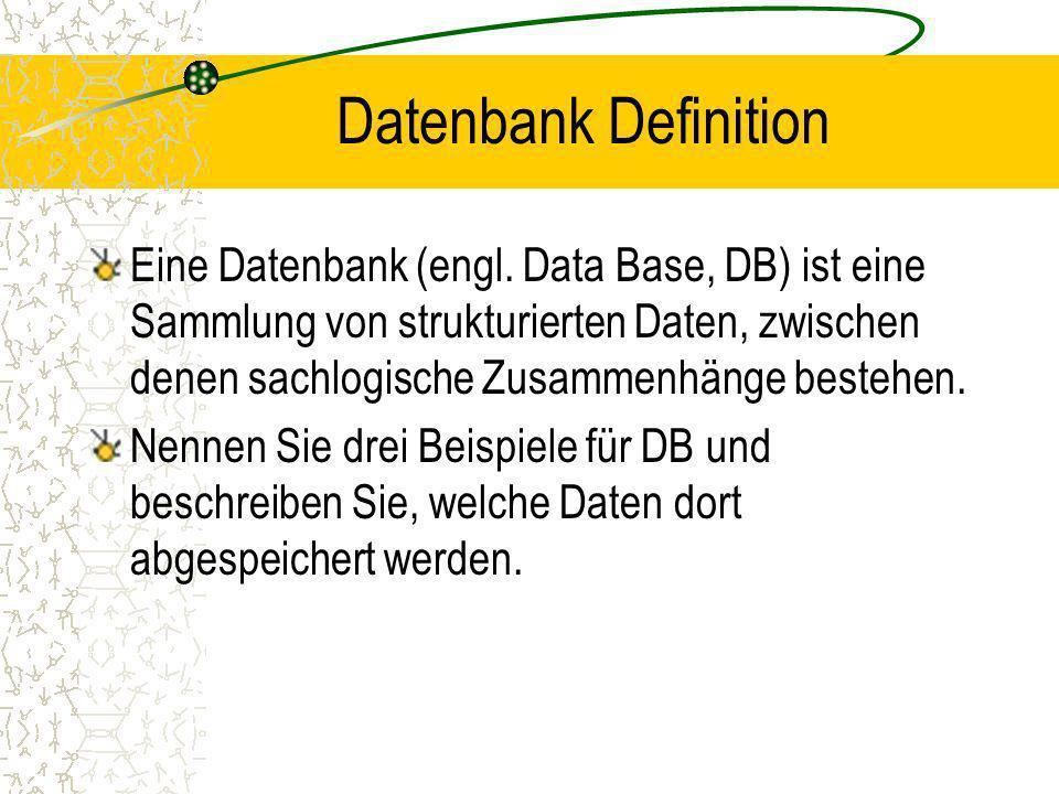 Datenbank Definition Eine Datenbank (engl.
