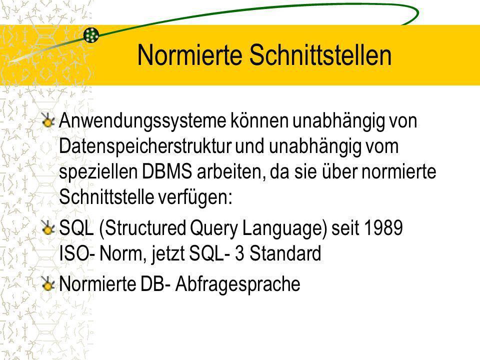 Normierte Schnittstellen Anwendungssysteme können unabhängig von Datenspeicherstruktur und unabhängig vom speziellen DBMS arbeiten, da sie über normierte Schnittstelle verfügen: SQL (Structured Query Language) seit 1989 ISO- Norm, jetzt SQL- 3 Standard Normierte DB- Abfragesprache