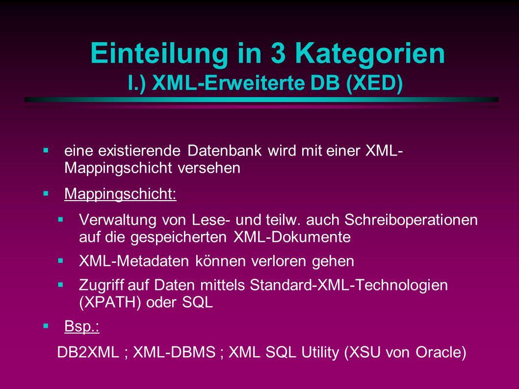 Einteilung in 3 Kategorien I.) XML-Erweiterte DB (XED) eine existierende Datenbank wird mit einer XML- Mappingschicht versehen Mappingschicht: Verwaltung von Lese- und teilw.