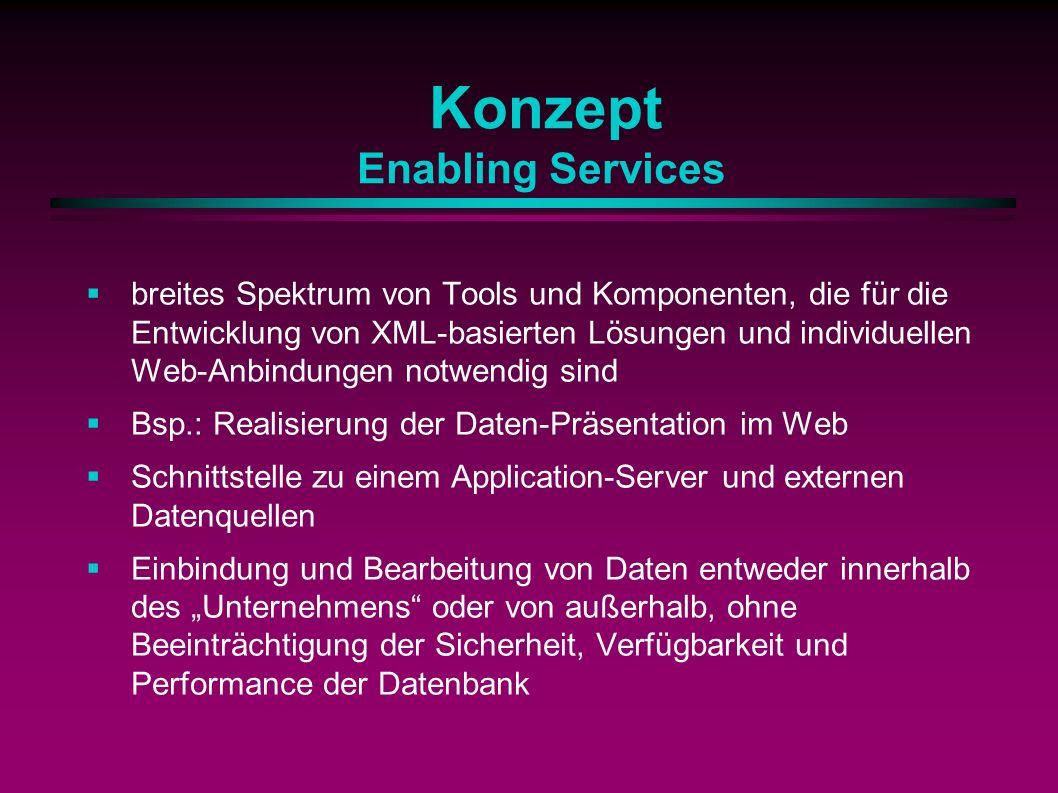Konzept Enabling Services breites Spektrum von Tools und Komponenten, die für die Entwicklung von XML-basierten Lösungen und individuellen Web-Anbindungen notwendig sind Bsp.: Realisierung der Daten-Präsentation im Web Schnittstelle zu einem Application-Server und externen Datenquellen Einbindung und Bearbeitung von Daten entweder innerhalb des Unternehmens oder von außerhalb, ohne Beeinträchtigung der Sicherheit, Verfügbarkeit und Performance der Datenbank
