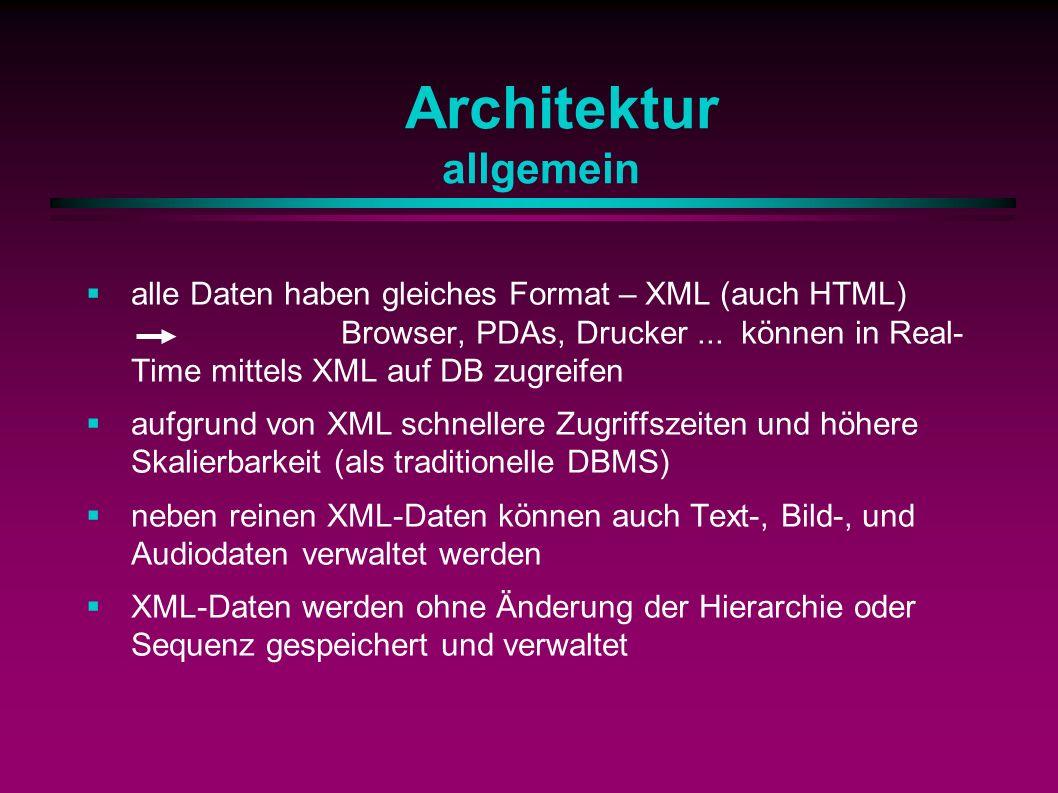 Architektur allgemein alle Daten haben gleiches Format – XML (auch HTML) Browser, PDAs, Drucker...