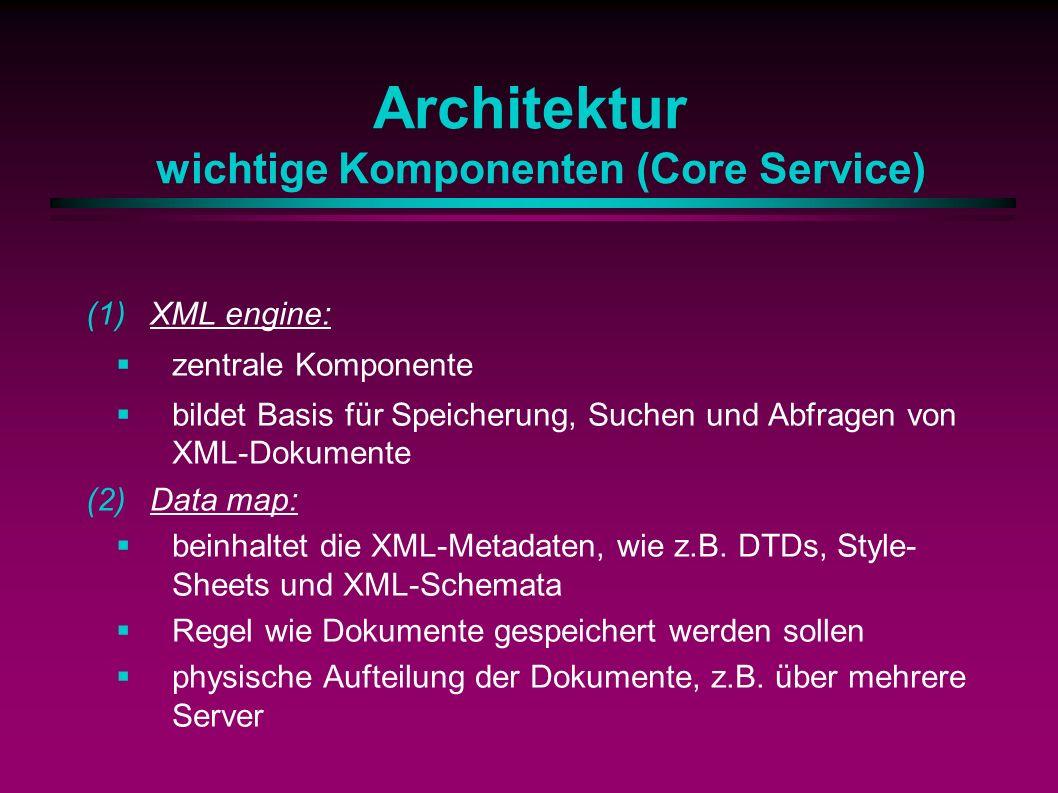 Architektur wichtige Komponenten (Core Service) (1)XML engine: zentrale Komponente bildet Basis für Speicherung, Suchen und Abfragen von XML-Dokumente (2)Data map: beinhaltet die XML-Metadaten, wie z.B.