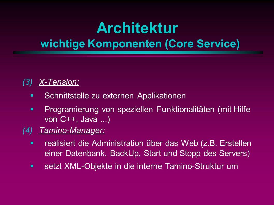 Architektur wichtige Komponenten (Core Service) (3)X-Tension: Schnittstelle zu externen Applikationen Programierung von speziellen Funktionalitäten (mit Hilfe von C++, Java...) (4)Tamino-Manager: realisiert die Administration über das Web (z.B.