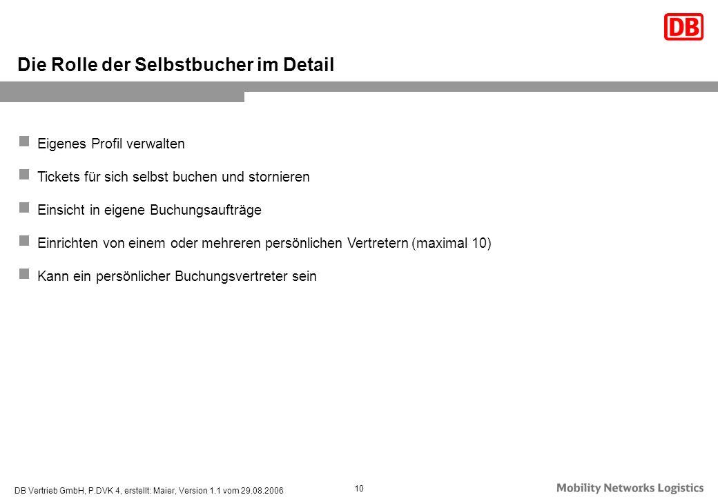 DB Vertrieb GmbH, P.DVK 4, erstellt: Maier, Version 1.1 vom 29.08.2006 10 Eigenes Profil verwalten Tickets für sich selbst buchen und stornieren Einsi