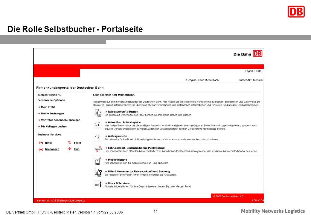 DB Vertrieb GmbH, P.DVK 4, erstellt: Maier, Version 1.1 vom 29.08.2006 11 Die Rolle Selbstbucher - Portalseite