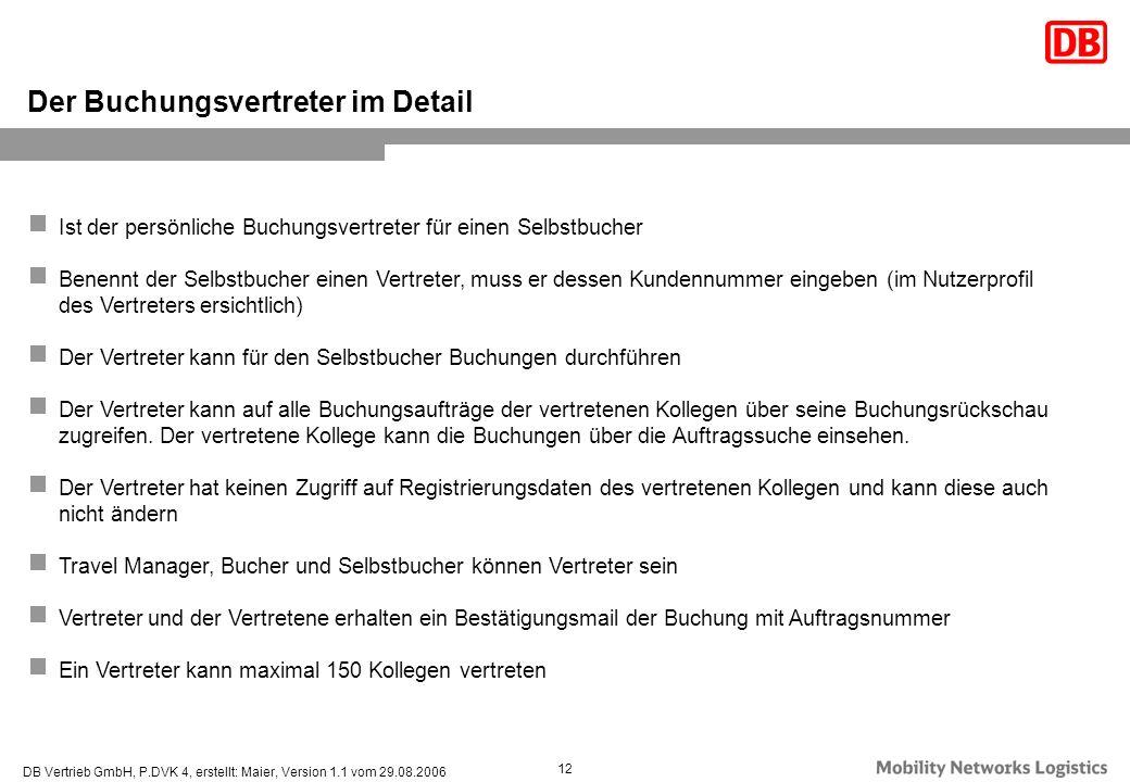 DB Vertrieb GmbH, P.DVK 4, erstellt: Maier, Version 1.1 vom 29.08.2006 12 Ist der persönliche Buchungsvertreter für einen Selbstbucher Benennt der Sel