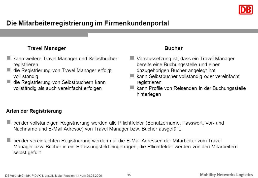 DB Vertrieb GmbH, P.DVK 4, erstellt: Maier, Version 1.1 vom 29.08.2006 15 Die Mitarbeiterregistrierung im Firmenkundenportal kann weitere Travel Manag