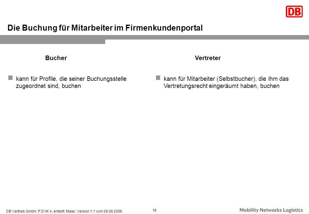 DB Vertrieb GmbH, P.DVK 4, erstellt: Maier, Version 1.1 vom 29.08.2006 16 Die Buchung für Mitarbeiter im Firmenkundenportal kann für Profile, die sein