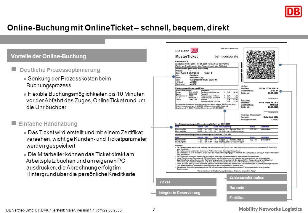 DB Vertrieb GmbH, P.DVK 4, erstellt: Maier, Version 1.1 vom 29.08.2006 3 Online-Buchung mit OnlineTicket – schnell, bequem, direkt Ticket Integrierte
