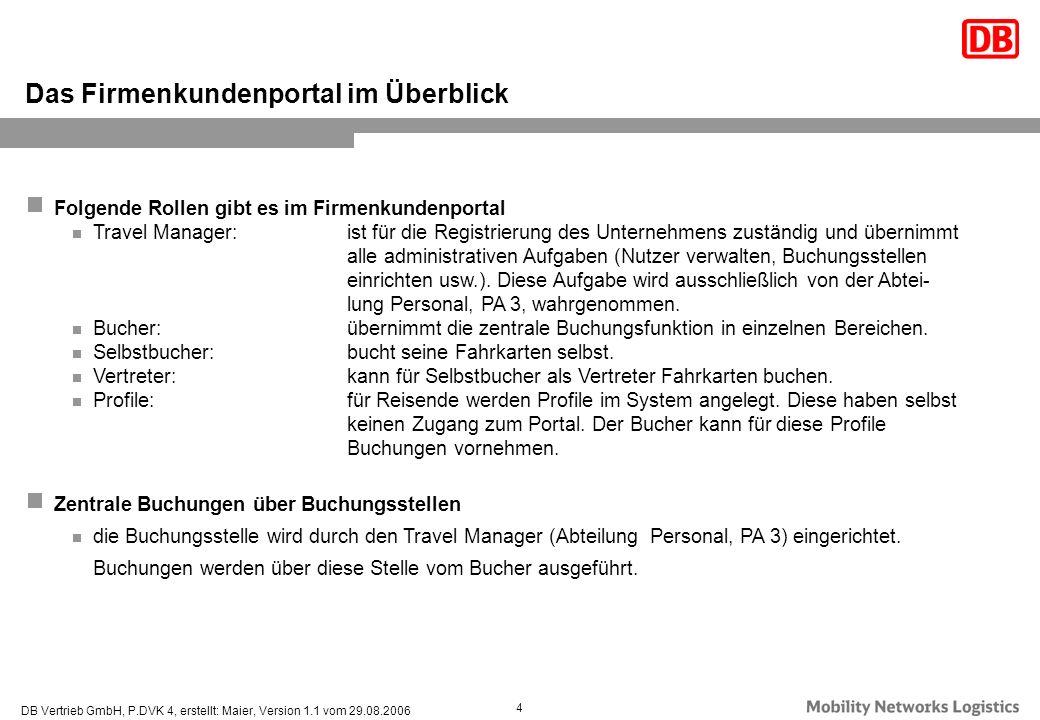 DB Vertrieb GmbH, P.DVK 4, erstellt: Maier, Version 1.1 vom 29.08.2006 4 Folgende Rollen gibt es im Firmenkundenportal Travel Manager:ist für die Regi