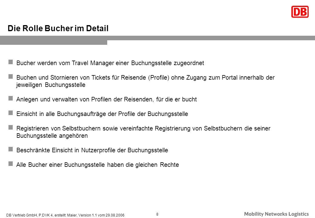 DB Vertrieb GmbH, P.DVK 4, erstellt: Maier, Version 1.1 vom 29.08.2006 8 Die Rolle Bucher im Detail Bucher werden vom Travel Manager einer Buchungsste