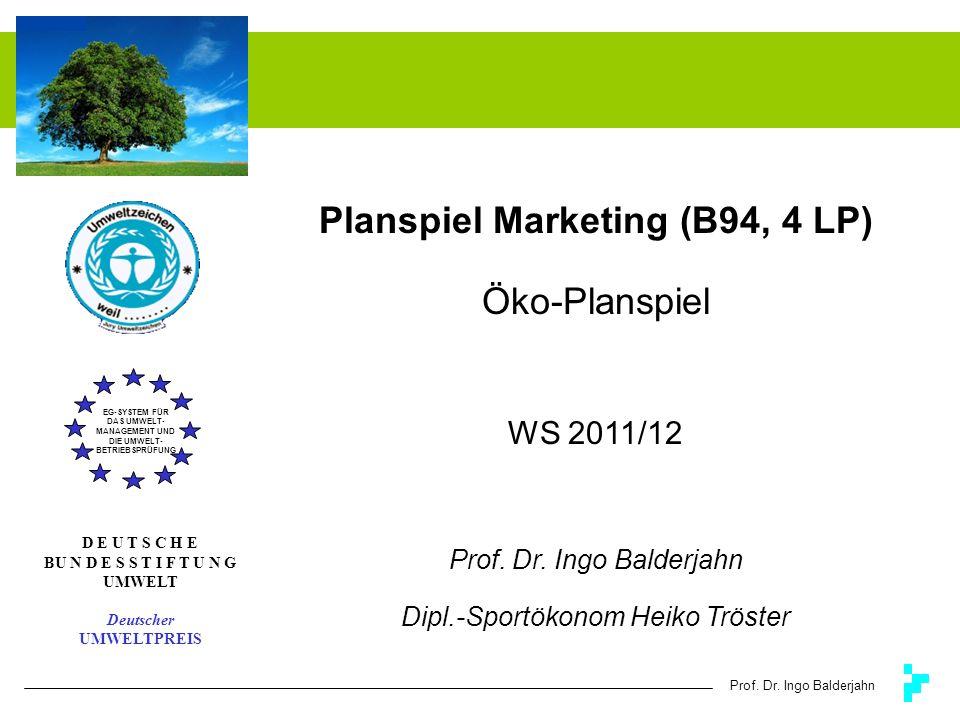 Prof. Dr. Ingo Balderjahn Planspiel Marketing (B94, 4 LP) Öko-Planspiel WS 2011/12 Prof. Dr. Ingo Balderjahn Dipl.-Sportökonom Heiko Tröster EG-SYSTEM