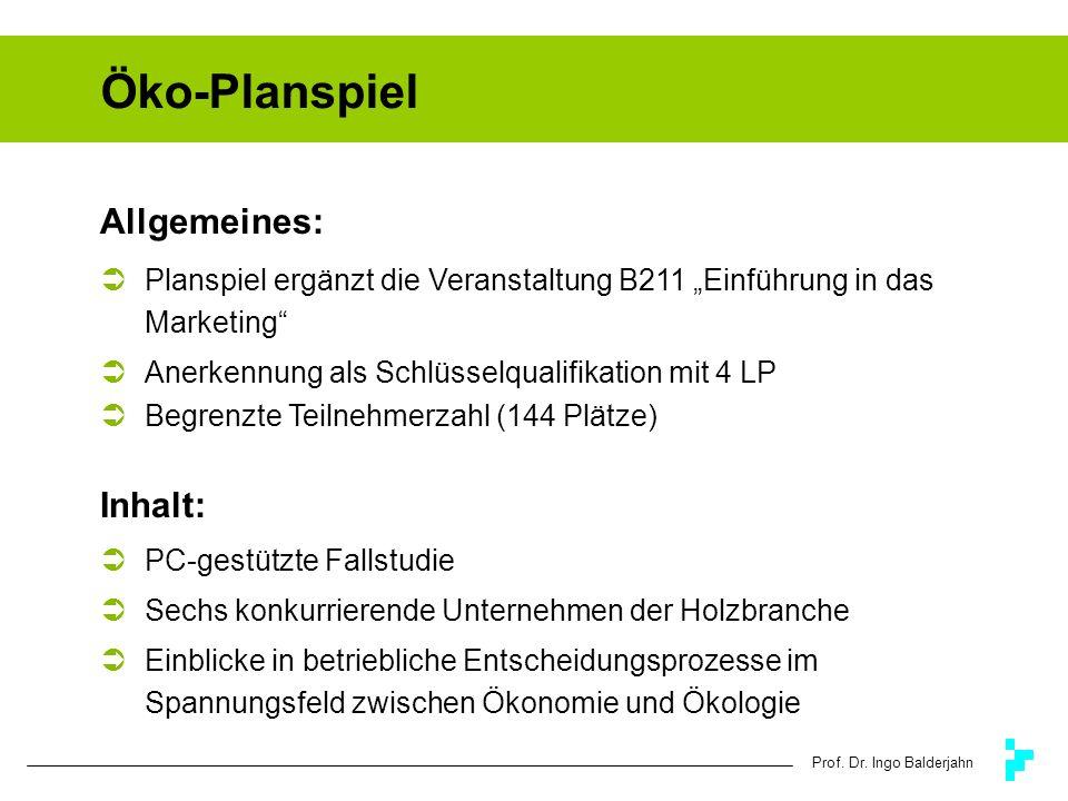 Prof. Dr. Ingo Balderjahn Öko-Planspiel Allgemeines: Planspiel ergänzt die Veranstaltung B211 Einführung in das Marketing Anerkennung als Schlüsselqua