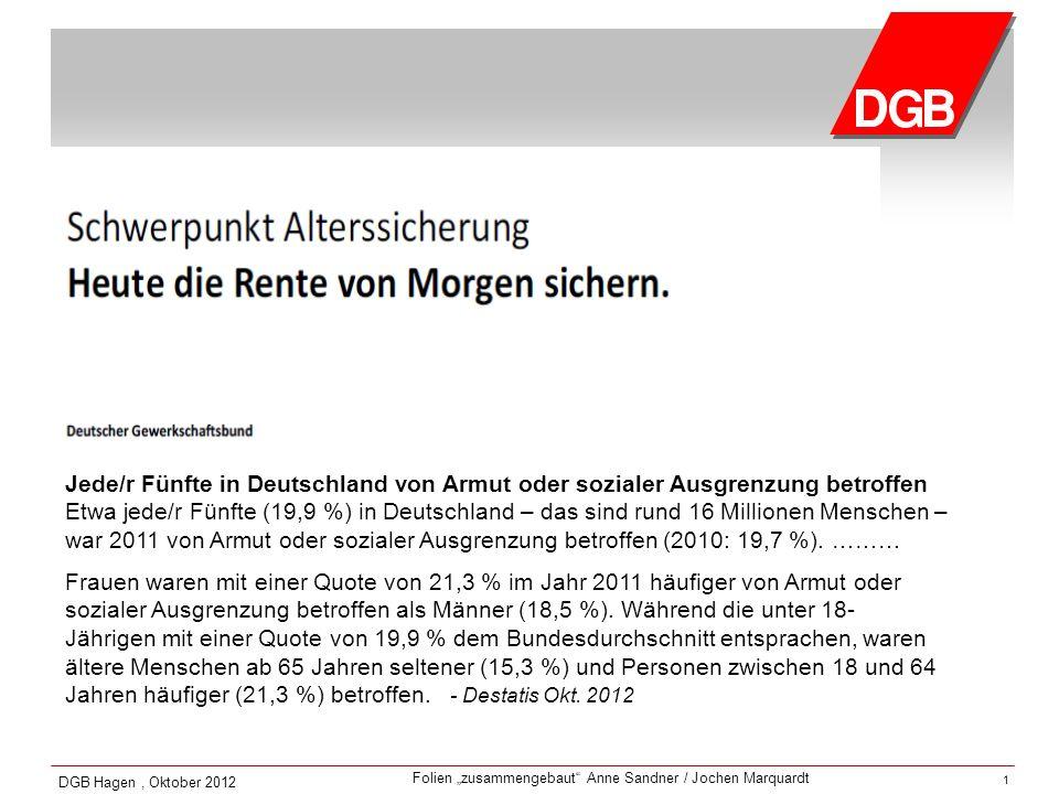 Folien zusammengebaut Anne Sandner / Jochen Marquardt DGB Hagen, Oktober 2012 1 Jede/r Fünfte in Deutschland von Armut oder sozialer Ausgrenzung betro