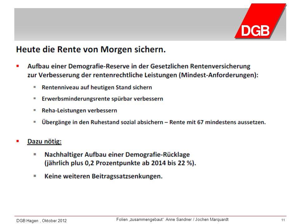 Folien zusammengebaut Anne Sandner / Jochen Marquardt DGB Hagen, Oktober 2012 11