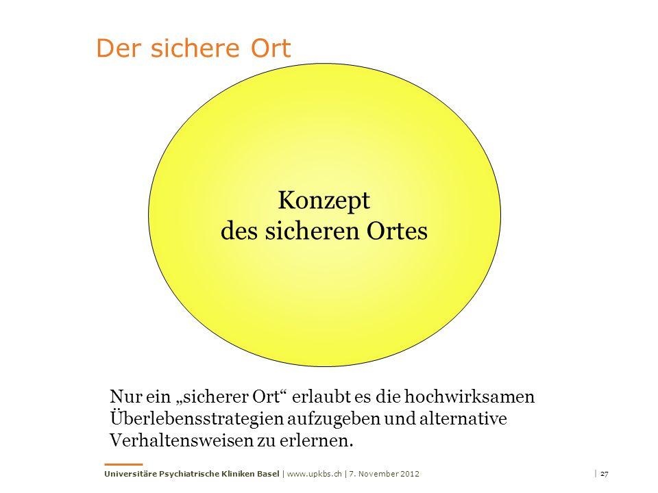 | 277. November 2012Universitäre Psychiatrische Kliniken Basel | www.upkbs.ch | Der sichere Ort Konzept des sicheren Ortes Nur ein sicherer Ort erlaub