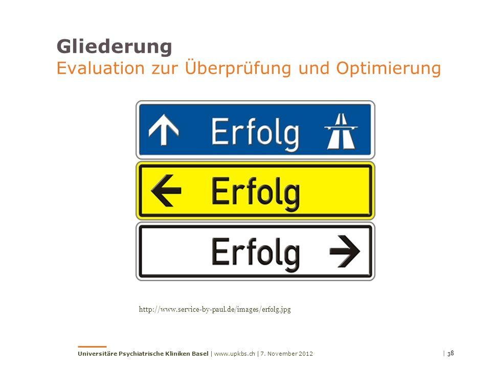 Gliederung Evaluation zur Überprüfung und Optimierung http://www.service-by-paul.de/images/erfolg.jpg | 387. November 2012Universitäre Psychiatrische