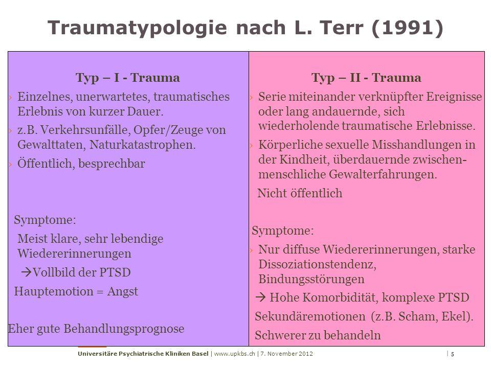 | 57. November 2012Universitäre Psychiatrische Kliniken Basel | www.upkbs.ch | Traumatypologie nach L. Terr (1991) Typ – I - Trauma Einzelnes, unerwar