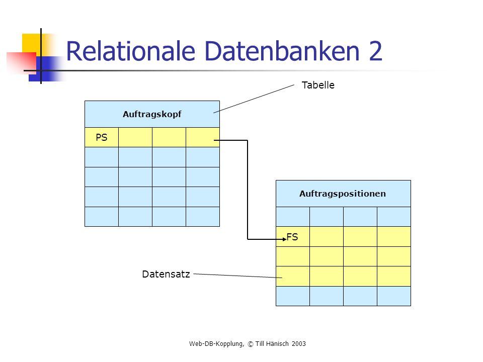 Web-DB-Kopplung, © Till Hänisch 2003 Relationale Datenbanken 3 Eigenschaften der Relationen (zweidimensionalen Tabellen) Die Zeilen der Tabelle sind paarweise verschieden Die Reihenfolge der Zeilen ist irrelevant Das Tauschen der Spalten ändert die Relation (Tabelle) nicht Die Attributwerte von Relationen sind atomar Die Spalten der Tabelle sind homogen (= alle Werte einer Spalte sind vom gleichen Datentyp)