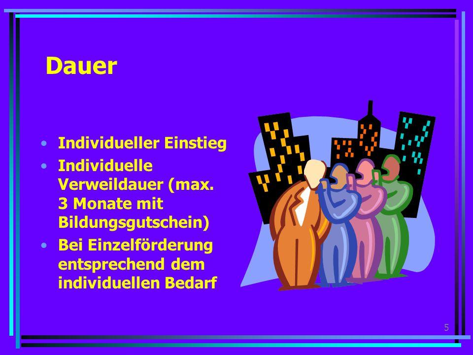 5 Dauer Individueller Einstieg Individuelle Verweildauer (max.