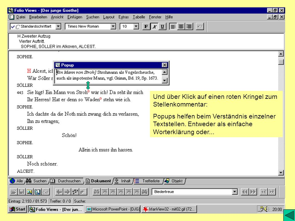 Und über Klick auf einen roten Kringel zum Stellenkommentar: Popups helfen beim Verständnis einzelner Textstellen. Entweder als einfache Worterklärung