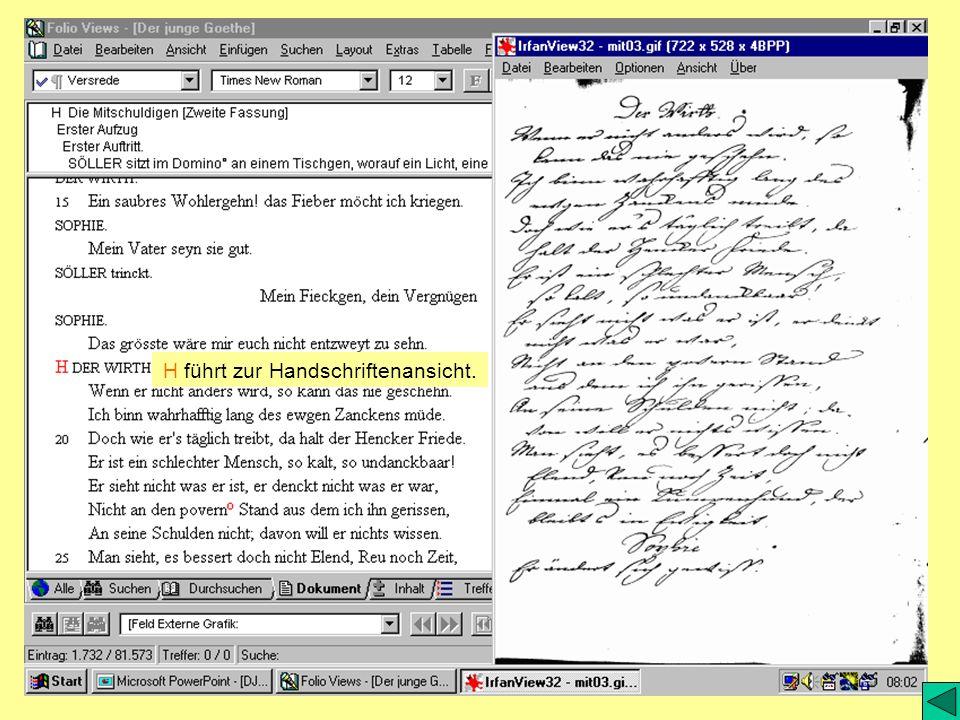 H führt zur Handschriftenansicht.