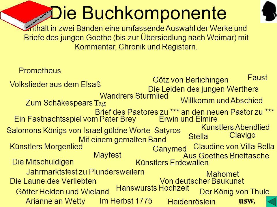 Die CD-Komponente bringt außerdem alle übrigen Werke, Briefe und Schriften und eine Auswahl der Zeichnungen des jungen Goethe sowie weitere Texte: Quellen, Überarbeitungen, Erinnerungen, Rezensionen, Briefe an Goethe und zahlreiche kanonische Texte der zeitgenössischen Dichtungs- und Lebensdeutung - Der folgende Überblick führt in die CD-Komponente ein.