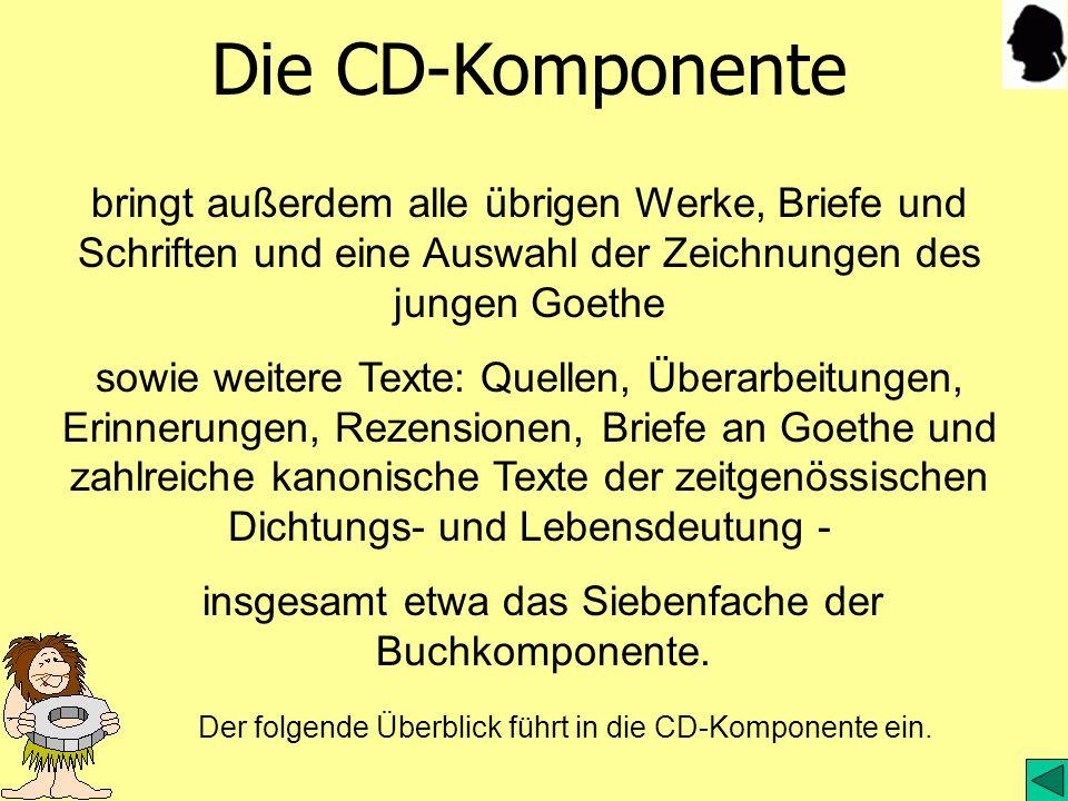 Die CD-Komponente bringt außerdem alle übrigen Werke, Briefe und Schriften und eine Auswahl der Zeichnungen des jungen Goethe sowie weitere Texte: Que
