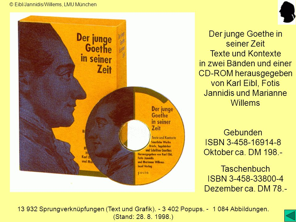 Gebunden ISBN 3-458-16914-8 Oktober ca. DM 198.- Taschenbuch ISBN 3-458-33800-4 Dezember ca. DM 78.- Der junge Goethe in seiner Zeit Texte und Kontext
