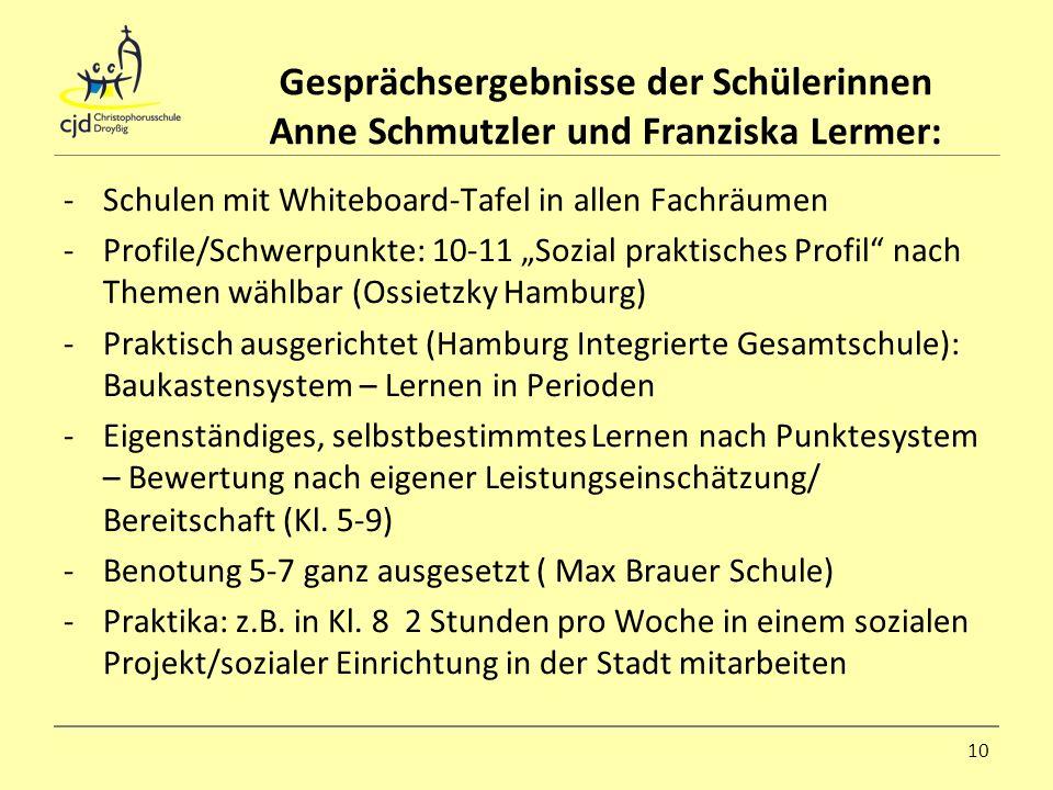 Gesprächsergebnisse der Schülerinnen Anne Schmutzler und Franziska Lermer: -Schulen mit Whiteboard-Tafel in allen Fachräumen -Profile/Schwerpunkte: 10