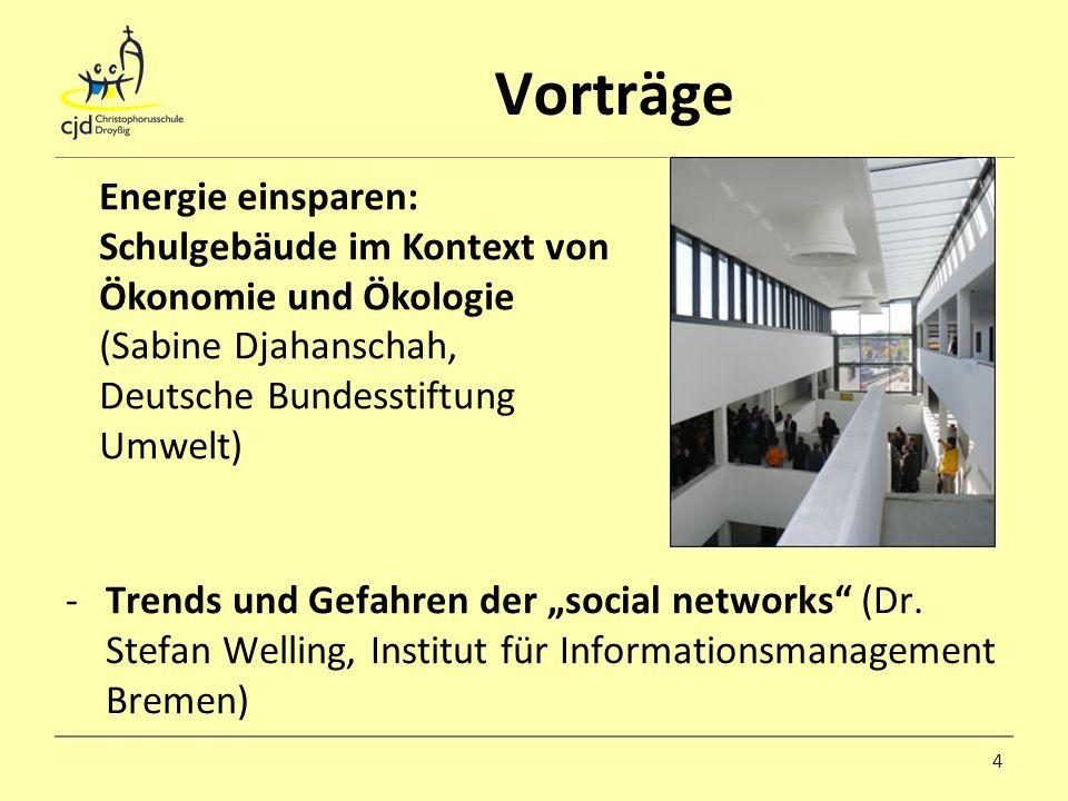 Vorträge -Trends und Gefahren der social networks (Dr. Stefan Welling, Institut für Informationsmanagement Bremen) 4 Energie einsparen: Schulgebäude i