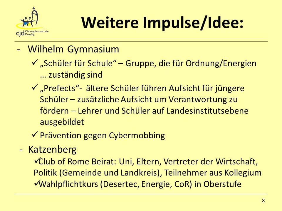 Weitere Impulse/Idee: -Wilhelm Gymnasium Schüler für Schule – Gruppe, die für Ordnung/Energien … zuständig sind Prefects- ältere Schüler führen Aufsic