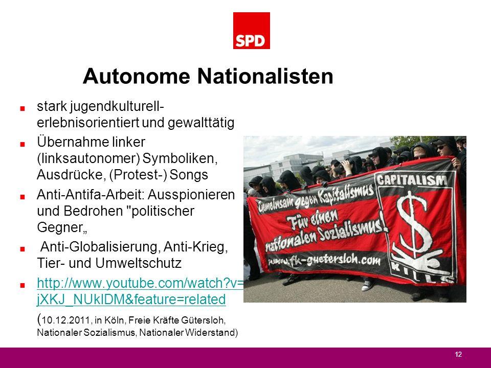 Autonome Nationalisten stark jugendkulturell- erlebnisorientiert und gewalttätig Übernahme linker (linksautonomer) Symboliken, Ausdrücke, (Protest-) S