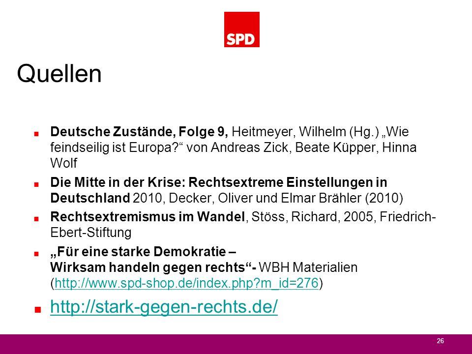 Quellen Deutsche Zustände, Folge 9, Heitmeyer, Wilhelm (Hg.) Wie feindseilig ist Europa? von Andreas Zick, Beate Küpper, Hinna Wolf Die Mitte in der K