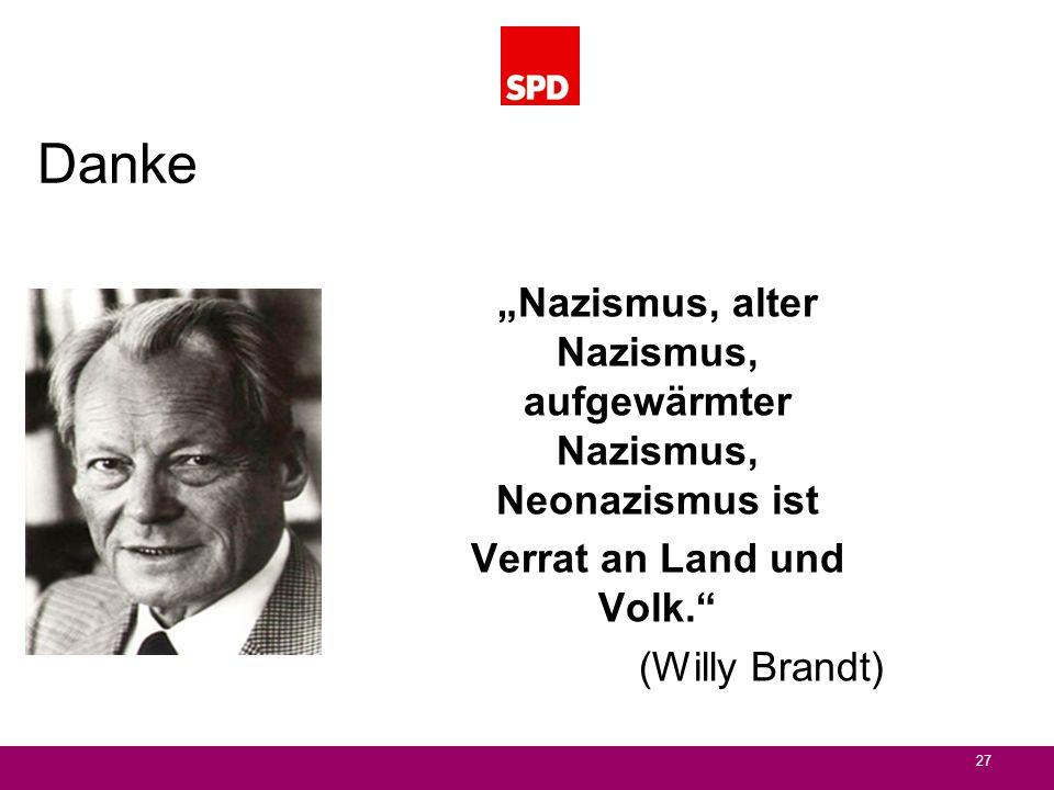 Danke Nazismus, alter Nazismus, aufgewärmter Nazismus, Neonazismus ist Verrat an Land und Volk. (Willy Brandt) 27
