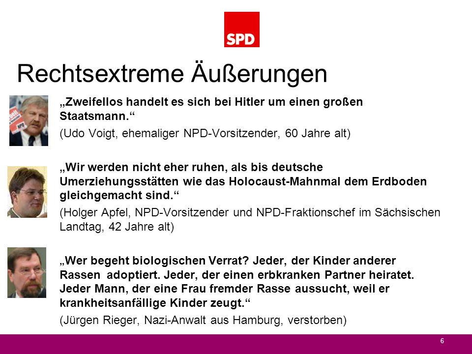 Rechtsextreme Äußerungen Zweifellos handelt es sich bei Hitler um einen großen Staatsmann. (Udo Voigt, ehemaliger NPD-Vorsitzender, 60 Jahre alt) Wir