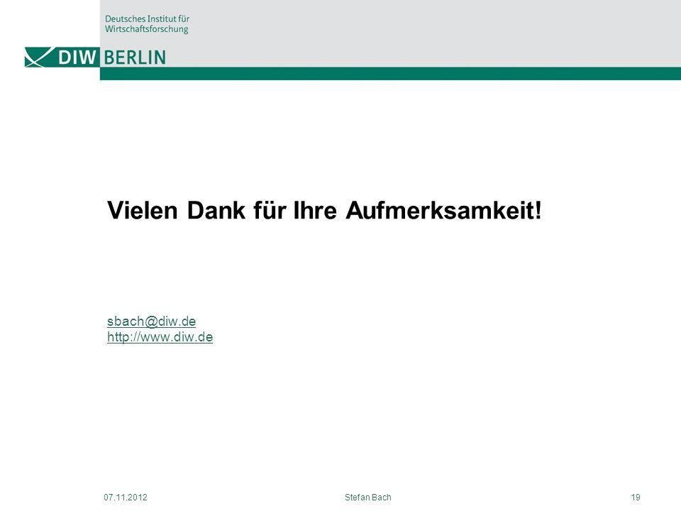 07.11.2012Stefan Bach19 Vielen Dank für Ihre Aufmerksamkeit! sbach@diw.de http://www.diw.de sbach@diw.de http://www.diw.de