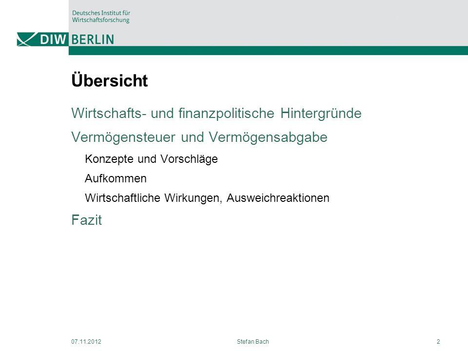 Übersicht Wirtschafts- und finanzpolitische Hintergründe Vermögensteuer und Vermögensabgabe Konzepte und Vorschläge Aufkommen Wirtschaftliche Wirkunge